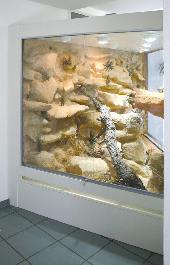 Wüsten-Steppenterrarium als Raumteiler mit Durchblick von der linken Seitemit Durchblick von der linken Seite
