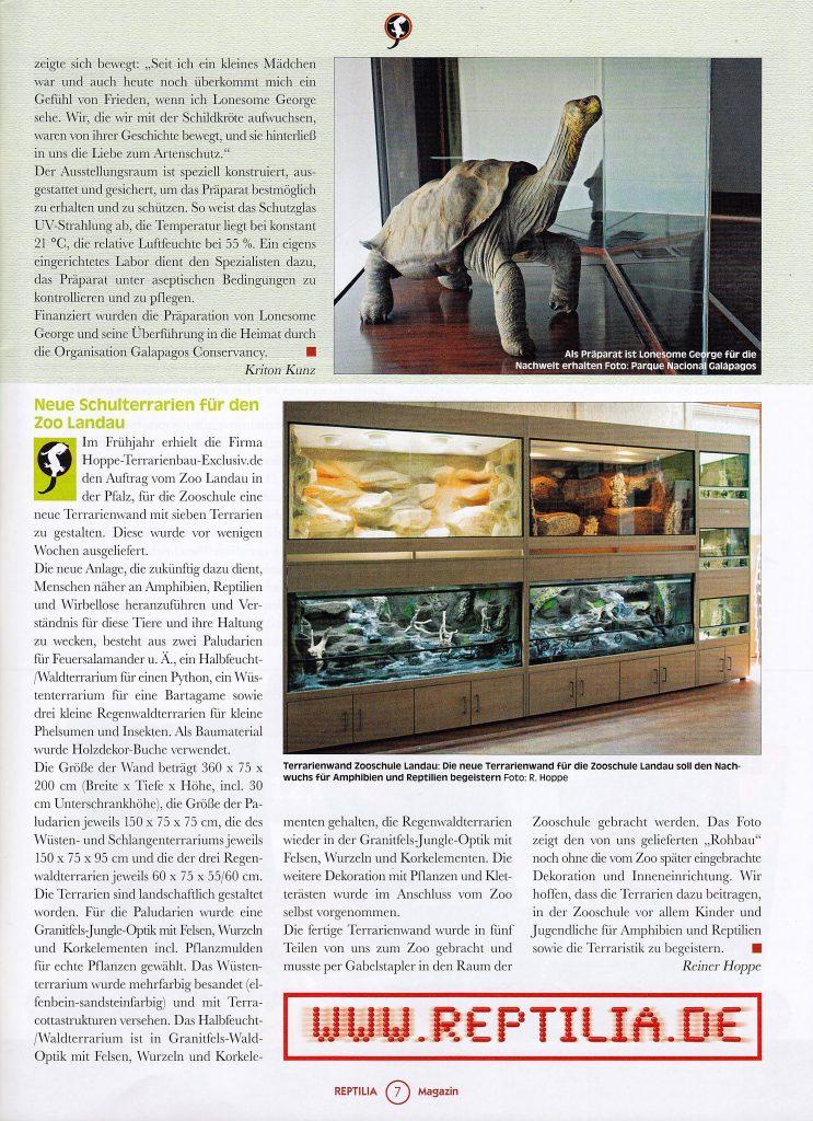 Bericht über unser Zooprojekt Landau in der neuen REPTILIA 11/2017