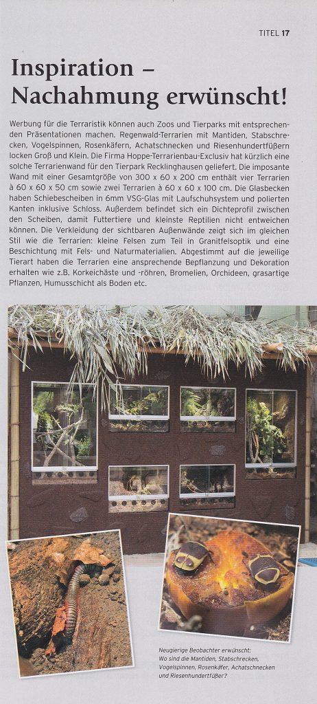 Artikel in der ZZA 08/2018 über unser Projekt für den Tierpark Recklinghausen