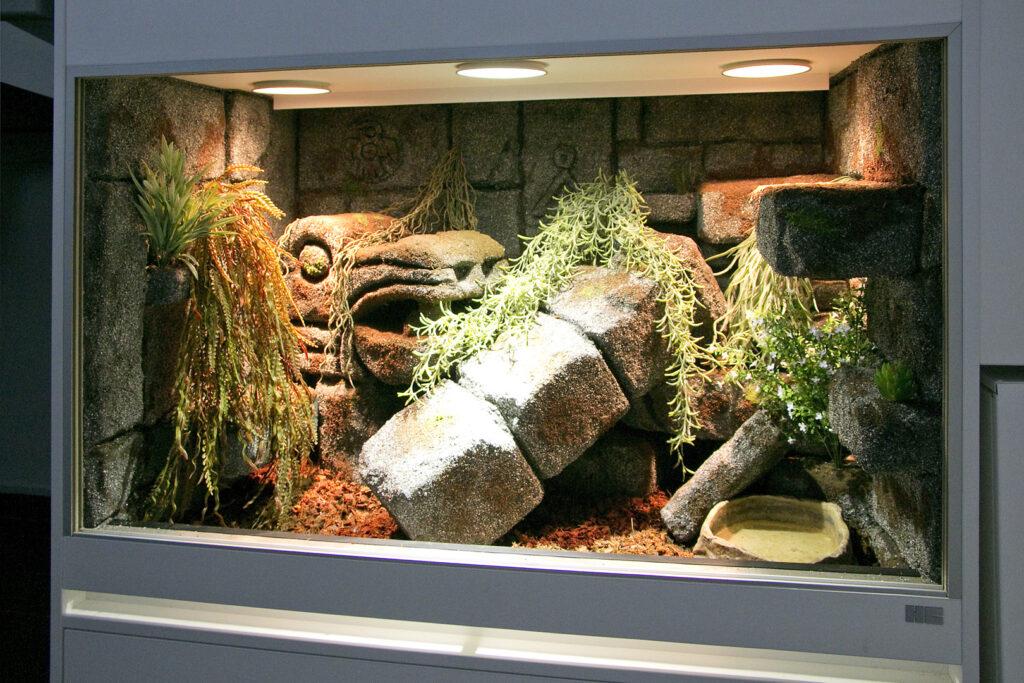 Schlangenterrarium im Stil einer Mayatempel-Optik